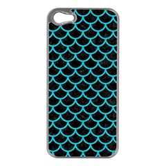 Scales1 Black Marble & Turquoise Colored Pencil (r) Apple Iphone 5 Case (silver) by trendistuff