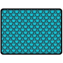 Scales2 Black Marble & Turquoise Colored Pencil Fleece Blanket (large)  by trendistuff