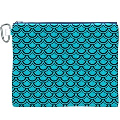 Scales2 Black Marble & Turquoise Colored Pencil Canvas Cosmetic Bag (xxxl) by trendistuff