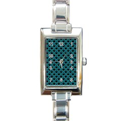 Scales2 Black Marble & Turquoise Colored Pencil (r) Rectangle Italian Charm Watch by trendistuff