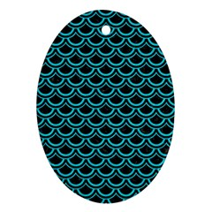 Scales2 Black Marble & Turquoise Colored Pencil (r) Ornament (oval) by trendistuff