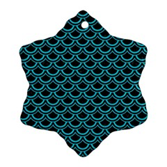 Scales2 Black Marble & Turquoise Colored Pencil (r) Snowflake Ornament (two Sides) by trendistuff