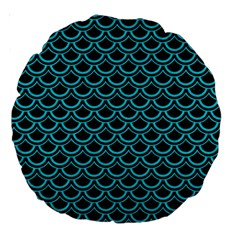Scales2 Black Marble & Turquoise Colored Pencil (r) Large 18  Premium Round Cushions by trendistuff