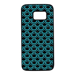 Scales2 Black Marble & Turquoise Colored Pencil (r) Samsung Galaxy S7 Black Seamless Case by trendistuff