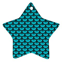 Scales3 Black Marble & Turquoise Colored Pencil Star Ornament (two Sides) by trendistuff