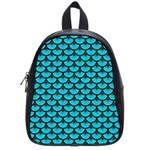 SCALES3 BLACK MARBLE & TURQUOISE COLORED PENCIL School Bag (Small) Front