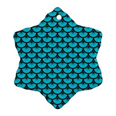 Scales3 Black Marble & Turquoise Colored Pencil Ornament (snowflake) by trendistuff
