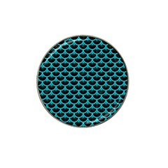 Scales3 Black Marble & Turquoise Colored Pencil (r) Hat Clip Ball Marker by trendistuff