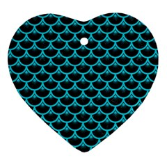 Scales3 Black Marble & Turquoise Colored Pencil (r) Heart Ornament (two Sides) by trendistuff