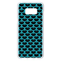 Scales3 Black Marble & Turquoise Colored Pencil (r) Samsung Galaxy S8 Plus White Seamless Case by trendistuff