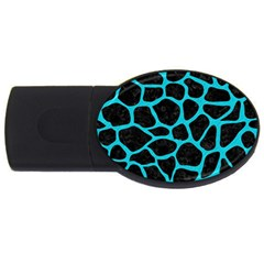 Skin1 Black Marble & Turquoise Colored Pencil Usb Flash Drive Oval (2 Gb)