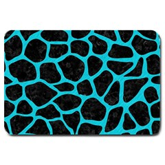 Skin1 Black Marble & Turquoise Colored Pencil Large Doormat  by trendistuff