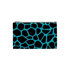 Skin1 Black Marble & Turquoise Colored Pencil Cosmetic Bag (small)  by trendistuff