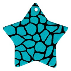 Skin1 Black Marble & Turquoise Colored Pencil (r) Star Ornament (two Sides) by trendistuff
