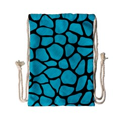 Skin1 Black Marble & Turquoise Colored Pencil (r) Drawstring Bag (small) by trendistuff