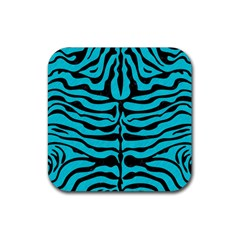 Skin2 Black Marble & Turquoise Colored Pencil Rubber Square Coaster (4 Pack)  by trendistuff