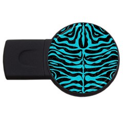Skin2 Black Marble & Turquoise Colored Pencil (r) Usb Flash Drive Round (4 Gb) by trendistuff