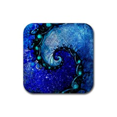 Nocturne Of Scorpio, A Fractal Spiral Painting Rubber Square Coaster (4 Pack)  by jayaprime