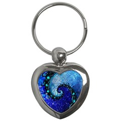 Nocturne Of Scorpio, A Fractal Spiral Painting Key Chains (heart)  by beautifulfractals