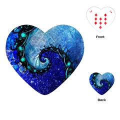 Nocturne Of Scorpio, A Fractal Spiral Painting Playing Cards (heart)  by jayaprime