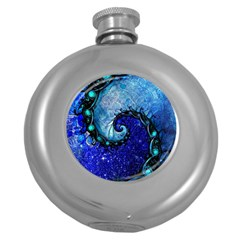 Nocturne Of Scorpio, A Fractal Spiral Painting Round Hip Flask (5 Oz) by jayaprime