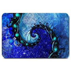 Nocturne Of Scorpio, A Fractal Spiral Painting Large Doormat  by beautifulfractals