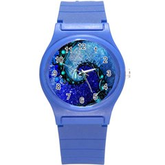 Nocturne Of Scorpio, A Fractal Spiral Painting Round Plastic Sport Watch (s) by jayaprime