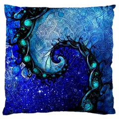 Nocturne Of Scorpio, A Fractal Spiral Painting Large Cushion Case (one Side) by jayaprime