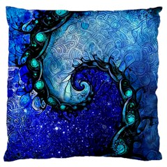 Nocturne Of Scorpio, A Fractal Spiral Painting Large Flano Cushion Case (two Sides) by jayaprime