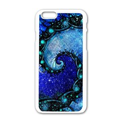 Nocturne Of Scorpio, A Fractal Spiral Painting Apple Iphone 6/6s White Enamel Case by jayaprime