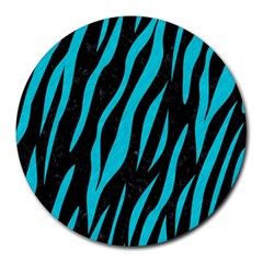 Skin3 Black Marble & Turquoise Colored Pencil (r) Round Mousepads by trendistuff