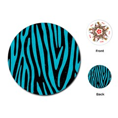 Skin4 Black Marble & Turquoise Colored Pencil Playing Cards (round)  by trendistuff