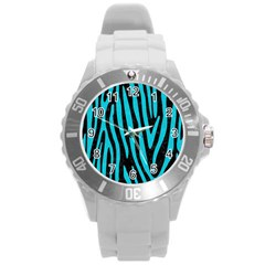 Skin4 Black Marble & Turquoise Colored Pencil Round Plastic Sport Watch (l) by trendistuff
