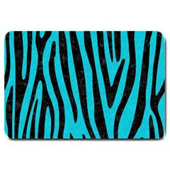 Skin4 Black Marble & Turquoise Colored Pencil (r) Large Doormat  by trendistuff