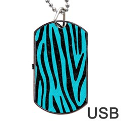 Skin4 Black Marble & Turquoise Colored Pencil (r) Dog Tag Usb Flash (two Sides) by trendistuff