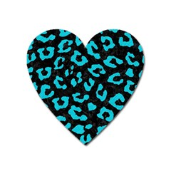 Skin5 Black Marble & Turquoise Colored Pencil Heart Magnet by trendistuff