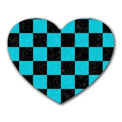 Square1 Black Marble & Turquoise Colored Pencil Heart Mousepads by trendistuff