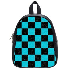 Square1 Black Marble & Turquoise Colored Pencil School Bag (small) by trendistuff