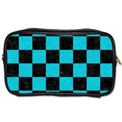 Square1 Black Marble & Turquoise Colored Pencil Toiletries Bags by trendistuff