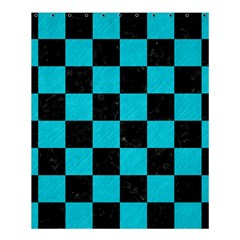 Square1 Black Marble & Turquoise Colored Pencil Shower Curtain 60  X 72  (medium)  by trendistuff