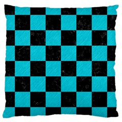 Square1 Black Marble & Turquoise Colored Pencil Large Cushion Case (two Sides) by trendistuff