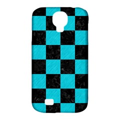 Square1 Black Marble & Turquoise Colored Pencil Samsung Galaxy S4 Classic Hardshell Case (pc+silicone) by trendistuff