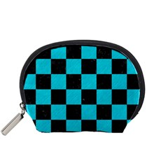 Square1 Black Marble & Turquoise Colored Pencil Accessory Pouches (small)  by trendistuff