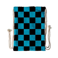 Square1 Black Marble & Turquoise Colored Pencil Drawstring Bag (small) by trendistuff