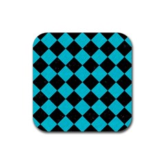 Square2 Black Marble & Turquoise Colored Pencil Rubber Square Coaster (4 Pack)  by trendistuff