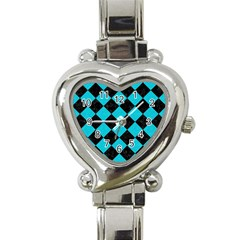 Square2 Black Marble & Turquoise Colored Pencil Heart Italian Charm Watch