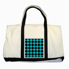 Square2 Black Marble & Turquoise Colored Pencil Two Tone Tote Bag by trendistuff