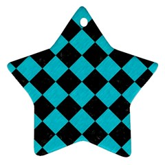 Square2 Black Marble & Turquoise Colored Pencil Star Ornament (two Sides) by trendistuff