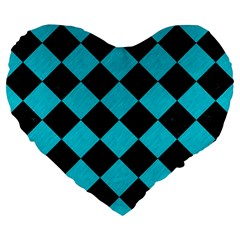 Square2 Black Marble & Turquoise Colored Pencil Large 19  Premium Flano Heart Shape Cushions by trendistuff