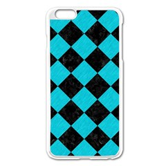 Square2 Black Marble & Turquoise Colored Pencil Apple Iphone 6 Plus/6s Plus Enamel White Case by trendistuff